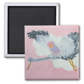 Flying Baby Girl and Stork Magnet