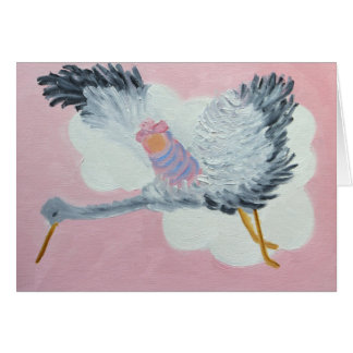 Flying Baby Girl and Stork notecard