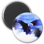 Flying Bald Eagle 2 Inch Round Magnet