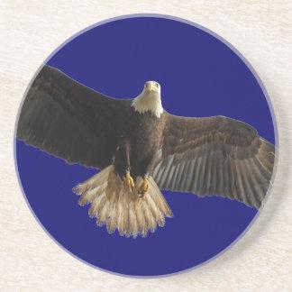Flying Bald Eagle Bird of Prey Art Sandstone Coaster