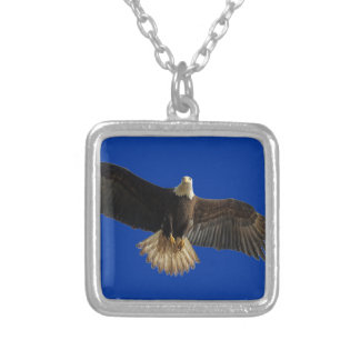Flying Bald Eagle Bird of Prey Art Silver Plated Necklace