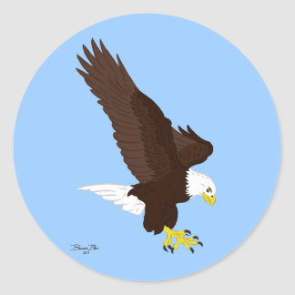 Flying Bald Eagle Classic Round Sticker