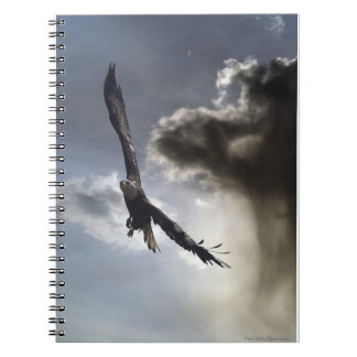 Flying Bald Eagle & Clouds Handy Notebook