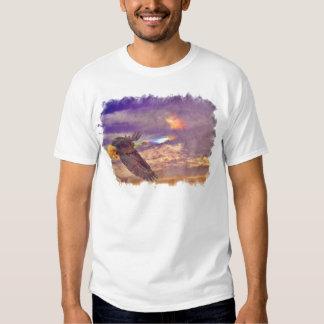 Flying Bald Eagle & Crepuscular Sky Wildlife Art T-Shirt