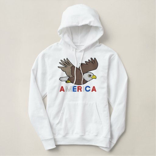 Flying Bald Eagle Embroidery Embroidered Hoodie
