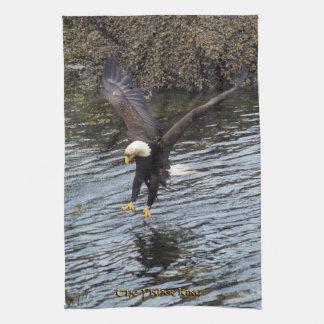 Flying Bald Eagle Fishing on Coast Kitchen Towel