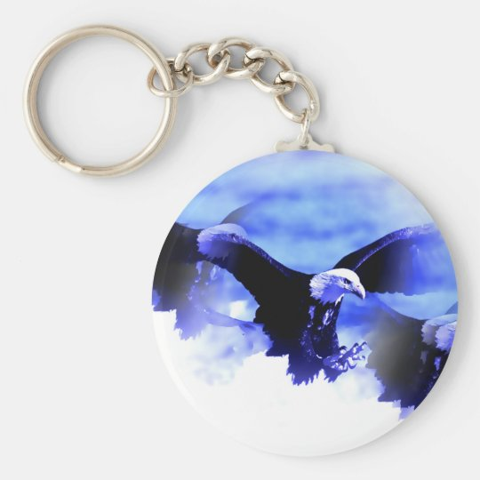 Flying Bald Eagle Keychain