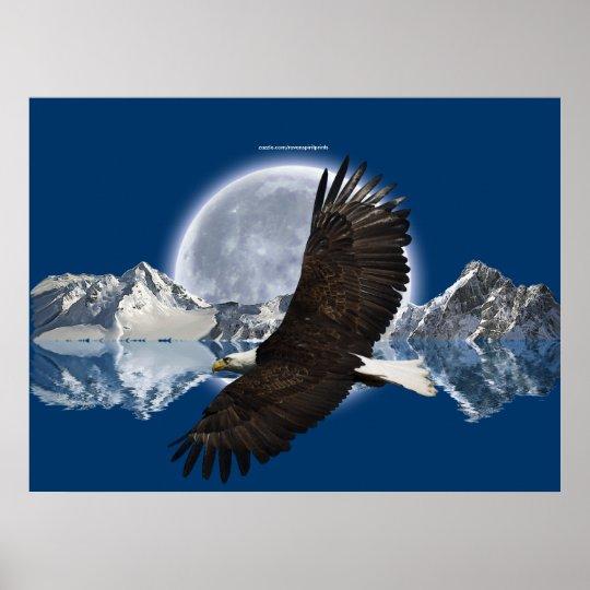 Flying Bald Eagle, Mountain & Moon Art Poster