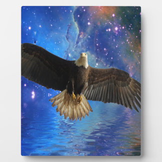 Flying Bald Eagle & Outer Space Nebula Art Plaque