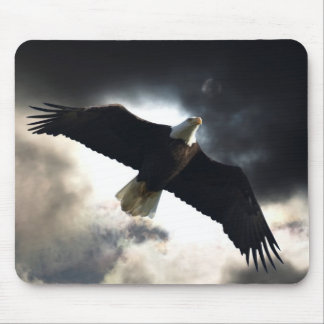 Flying Bald Eagle & Storm Clouds Photo Mouse Pad