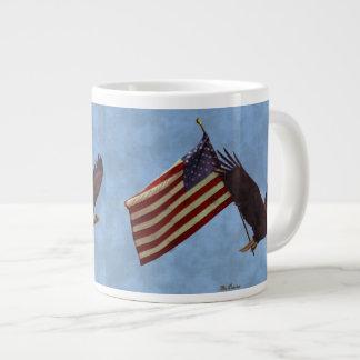 Flying Bald Eagle & US Flag Patriot Jumbo Soup Mug