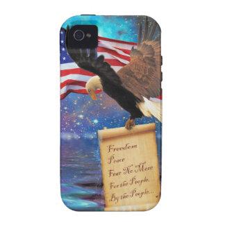 Flying Bald Eagle & US Flag Patriotic Designer Case-Mate iPhone 4 Cover