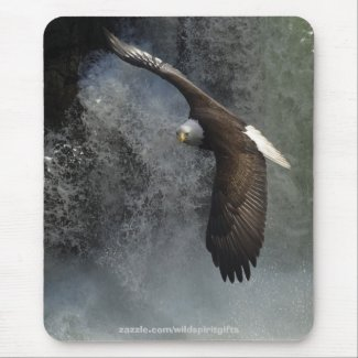 Flying Bald Eagle & Waterfall Mousepad zazzle_mousepad