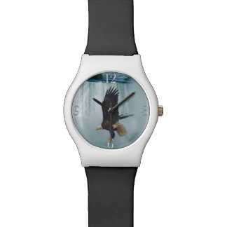 Flying Bald Eagle & Waterfall Nature Scene Wrist Watch