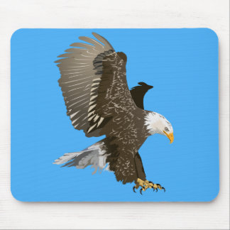Flying Bald Eagle with Outstretched Wings Mouse Pad