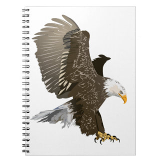 Flying Bald Eagle with Outstretched Wings Spiral Note Book