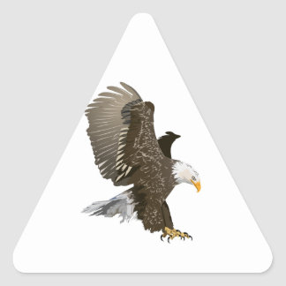 Flying Bald Eagle with Outstretched Wings Triangle Sticker