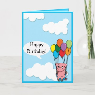 Cute Flying Pig Birthday Card Zazzle