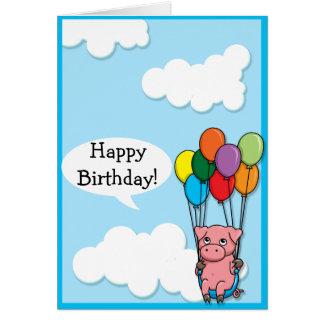 Flying Balloon Pig Birthday card