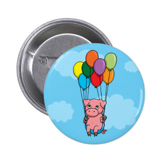 Flying Balloon Pig Buttons