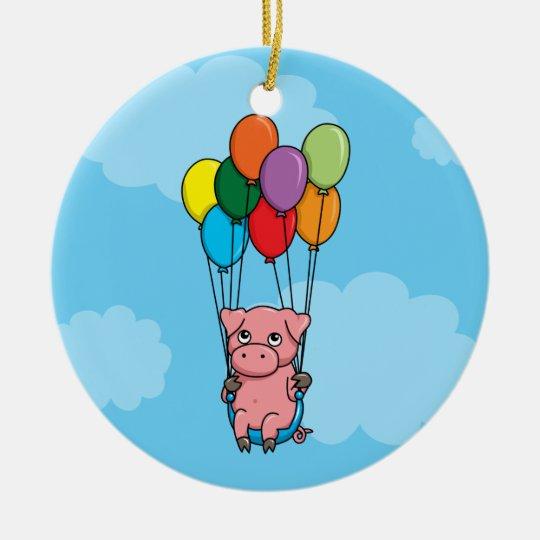 Flying Balloon Pig Ceramic Ornament