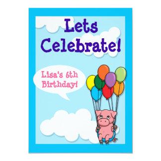 Flying Balloon Pig Children's Birthday Invite