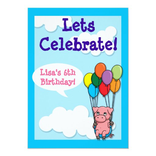 Flying Balloon Pig Children's Birthday Invite