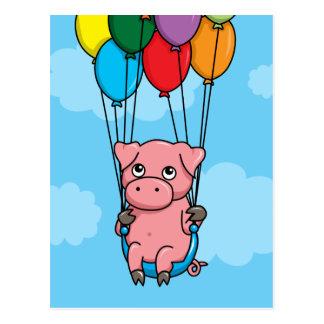 Flying Balloon Pig Postcard