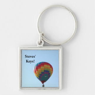 Flying Balloon Seagulls Silver-Colored Square Keychain