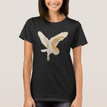 Flying Barn Owl Collage Bird Art T-Shirt