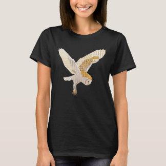 Flying Barn Owl Collage Bird Art T-Shirt