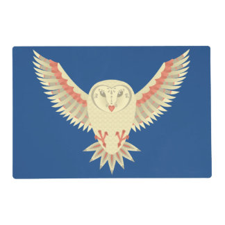 Flying Barn Owl Laminated Place Mat
