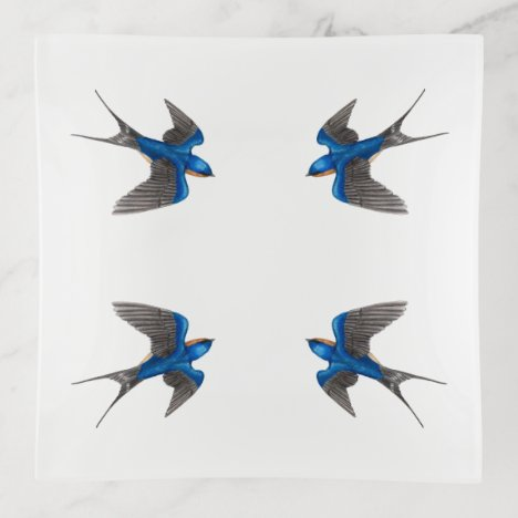 Flying Barn Swallow Trinket Trays