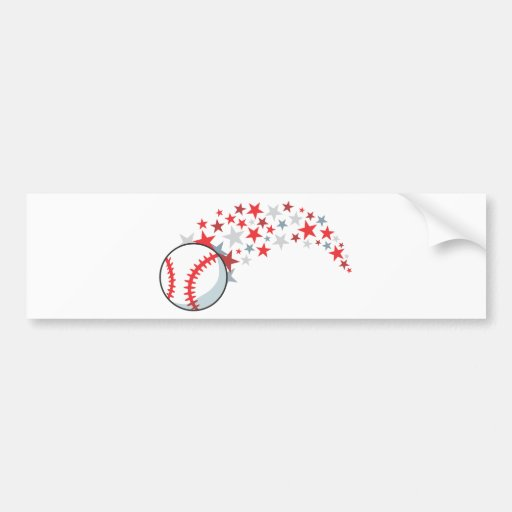 Flying Baseball with Stars Bumper Stickers