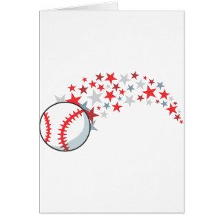 Flying Baseball with Stars Greeting Card