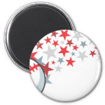 Flying Baseball with Stars Refrigerator Magnets
