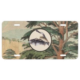 Flying Bat In Natural Habitat Illustration License Plate