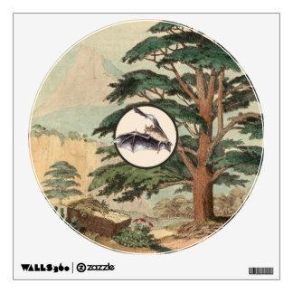 Flying Bat In Natural Habitat Illustration Wall Sticker