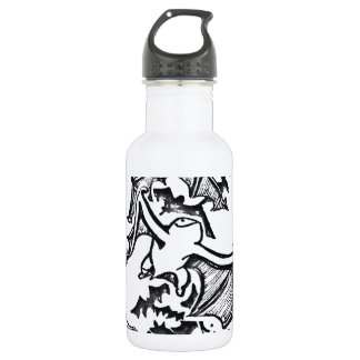 Flying Bats Back And White Drawing Stainless Steel Water Bottle