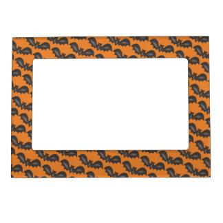 Flying Bats Black Orange Happy Halloween Print Magnetic Frame