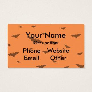 Flying Bats & Orange Background- Halloween Business Card