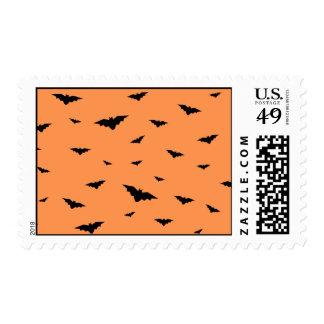 Flying Bats & Orange Background- Halloween Postage