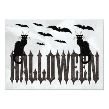 Halloween Themed Flying Bats & Spooky Cats Halloween Card