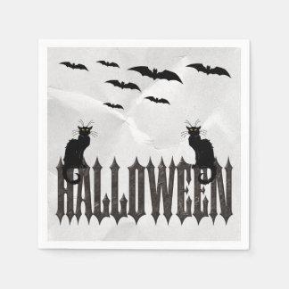 Flying Bats & Spooky Cats Halloween Serviettes Paper Napkin
