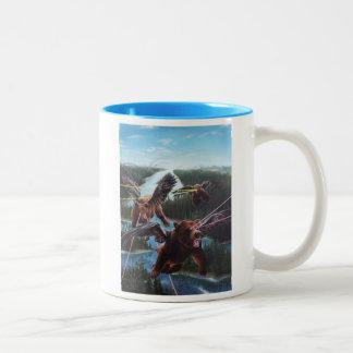 Flying Bears with Laser Beam Eyes Two-Tone Coffee Mug