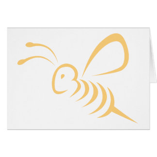 Flying Bee Insect Logo Greeting Cards