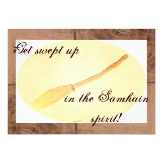 Flying Besom Samhain Single Pg. Greeting Personalized Invite