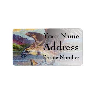 Flying Bird Of Prey With Fish Address Label