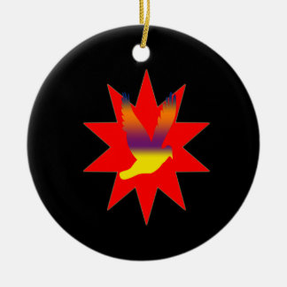 Flying Bird on Red Star Ornament
