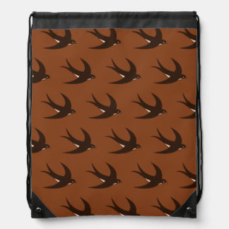 Flying Bird Pattern brown Drawstring Backpacks